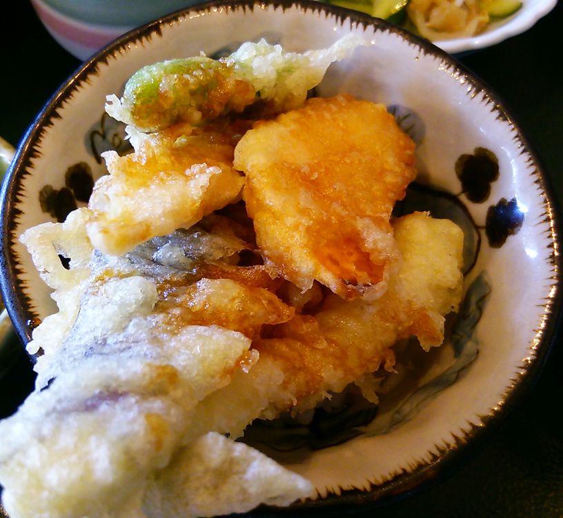 魚菜家の二種小丼セットの天丼