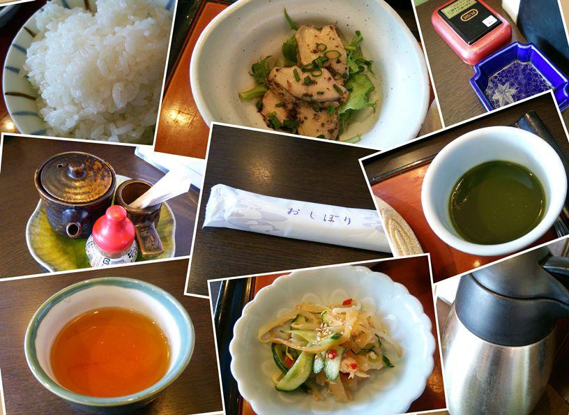 魚菜家のランチにつく小鉢やデザート、お茶、調味料などの画像のコラージュ