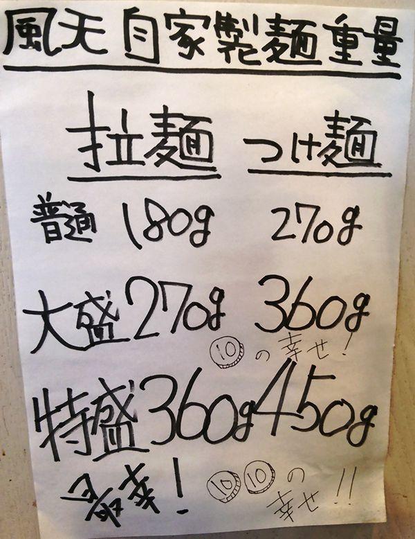 風天の麺の量についてのポップ