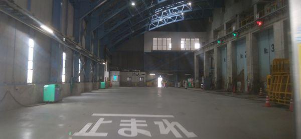 新田清掃センターの焼却場に入ったところ