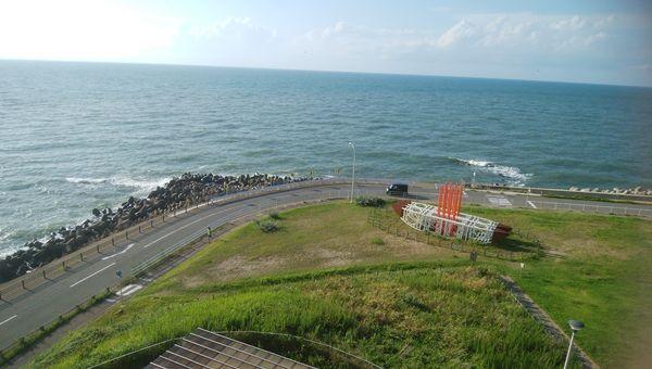 関分記念公園の展望台から川辺と海の境目辺りを見る