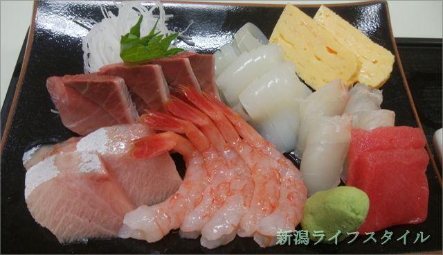 地魚食堂 瓢の刺身定食の刺身のアップ