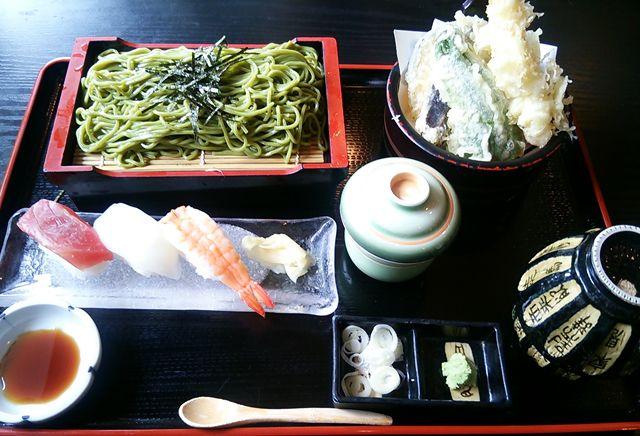 ほうせい丸の天ぷら茶そばセット