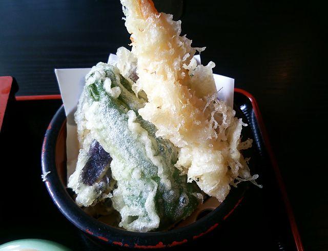 ほうせい丸の天ぷら茶そばセットの天ぷら