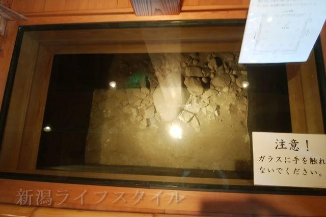 新発田城の建物内の基礎部分が見える
