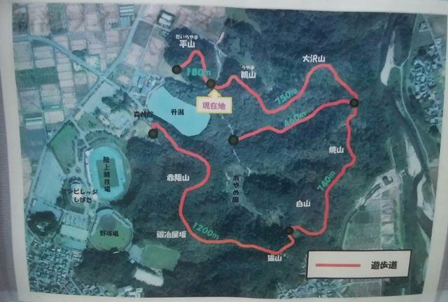 五十公野公園あやめ園近くの山頂にあるマップ