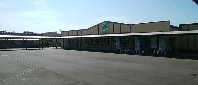 キラキラレストランを遠目に見た図。店前に左から右までアーケードが続いている