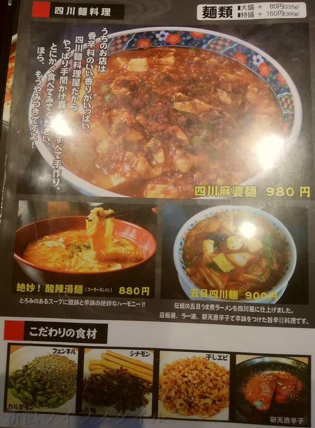 かなみ屋女池上山店の四川麺料理メニュー