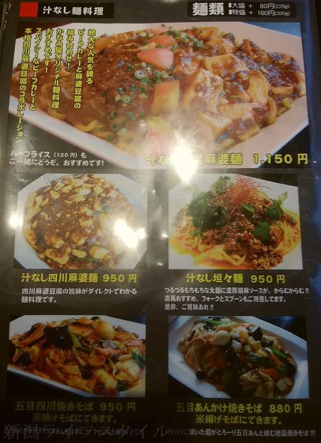 かなみ屋女池上山店の汁なし麺料理