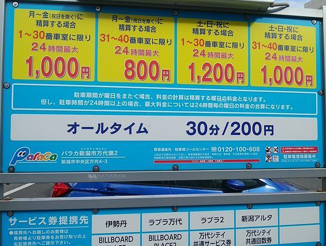 パラカ新潟市万代第2の料金看板