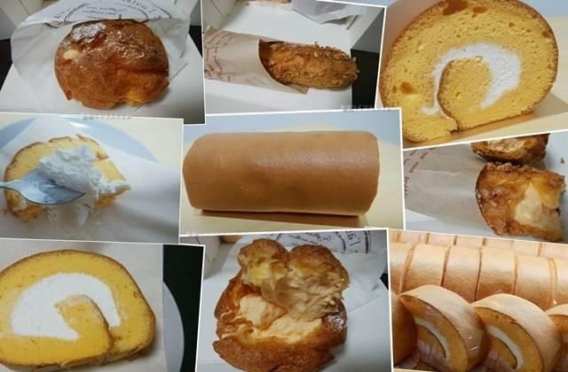 中条たまご直売店のロールケーキ、サクッとシュー、シュークリームのコラージュ