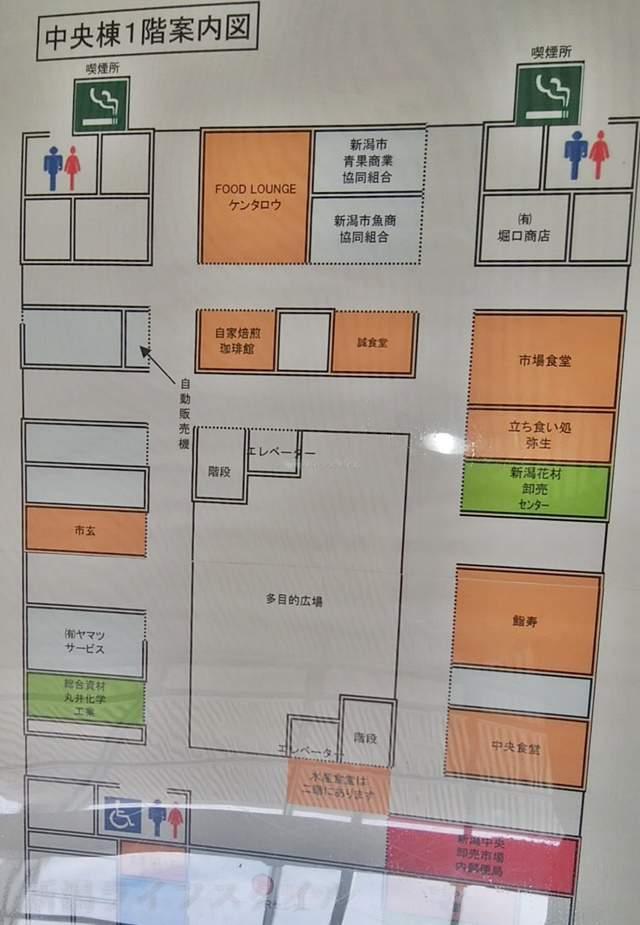 中央卸売市場の中央棟の見取り図