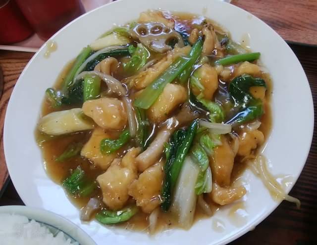 柿屋の鶏野菜炒め定食のおかずのみアップ
