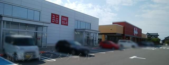 女池上山のショッピングセンターの原信やユニクロの外観