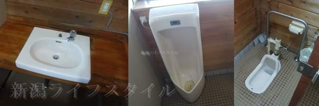 上堰潟公園の休憩所のトイレ内部