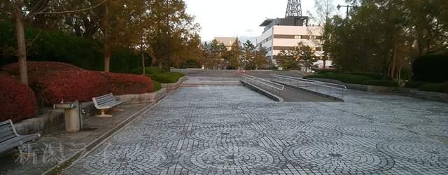 鳥屋野中央公園(鏑木エリア)はいってすぐの長くて広い通路