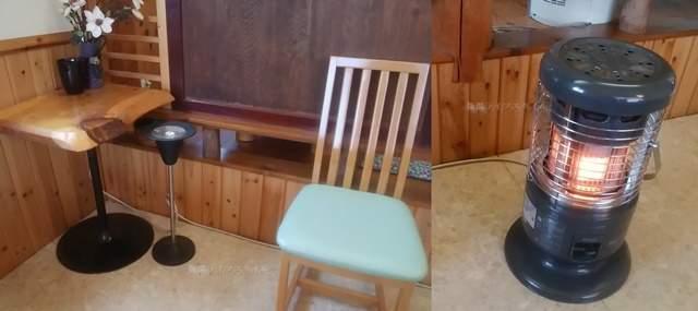 源松食堂のテーブル席近くのサイドテーブル