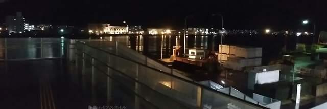朱鷺メッセコンベンションセンター入口右にあるデッキから佐渡汽船方向を見た夜景