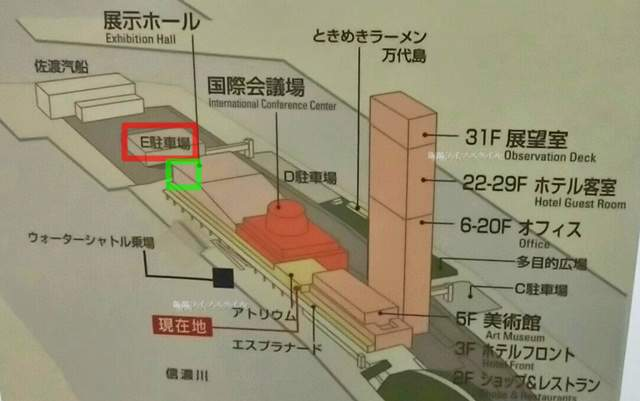 朱鷺メッセと万代島駐車場Eの位置関係マップ