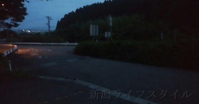 福井ほたるの里コース登山口の駐車場から460号線方向を望む