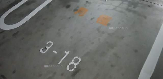 メディアシップ駐車場の車室路面の月極めの標示