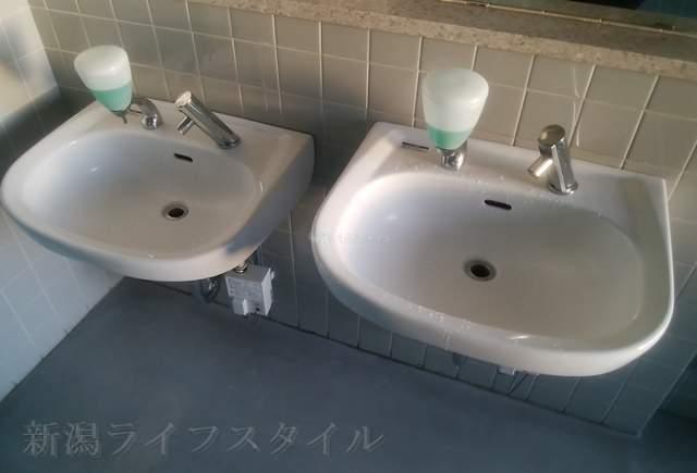 坂井輪図書館の男子トイレの手洗い場