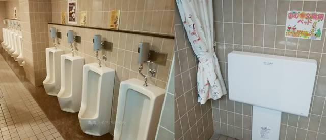 バザール館2Fのトイレの小用とおむつ台