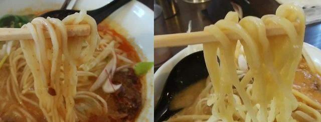 中華そばふじの新津店の味噌担々麺と味噌ラーメン白で麺の太さが違う