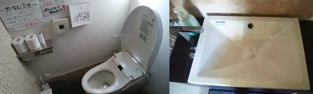 中華そばふじの新津店のトイレと手洗い場