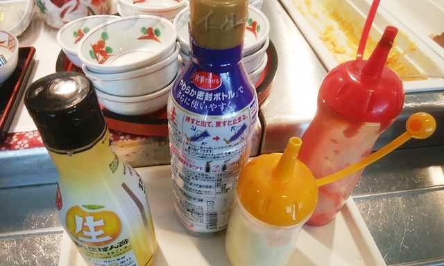 ホテルディアモント新潟西の朝食の醤油などの調味料