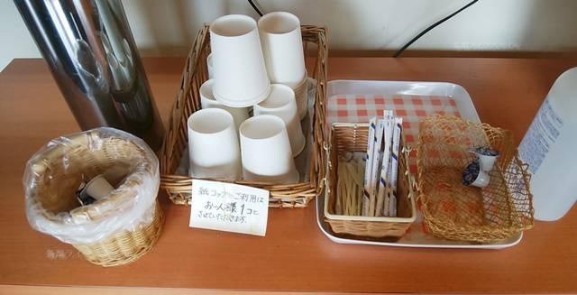 花恋ずのコーヒーコーナー付近の砂糖やクリーム