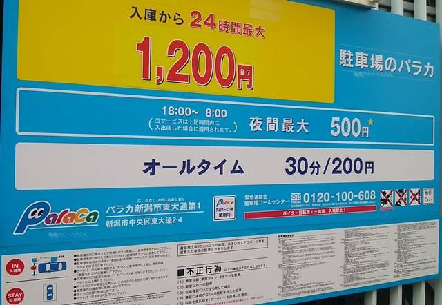 パラカ新潟市東大通第1の料金看板