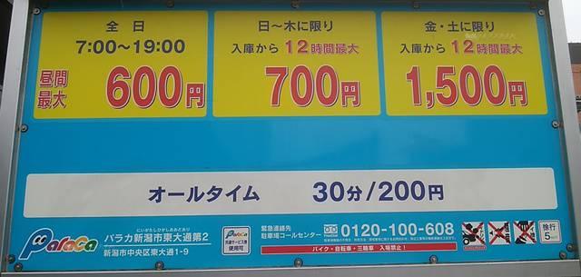 パラカ新潟市東大通第2の料金看板