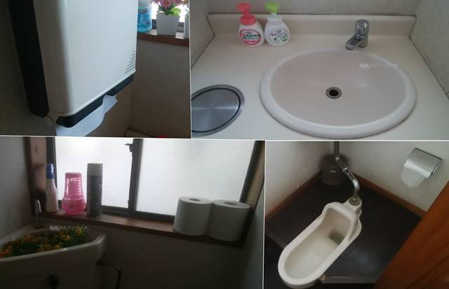 太安亭のトイレや手洗い場などのコラージュ