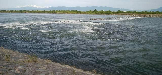 阿賀野川床固め公園の川の流れの様子