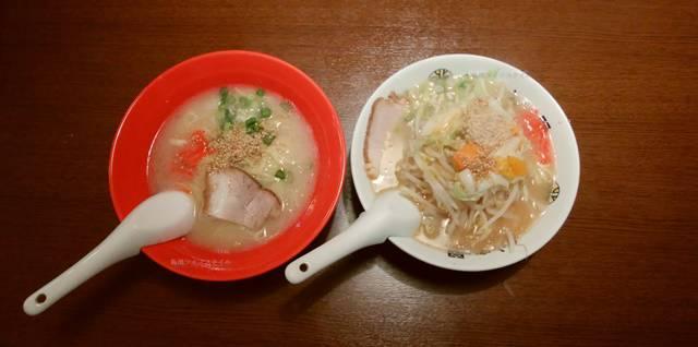 きんしゃい亭赤道店の塩ラーメンと野菜醤油ラーメン