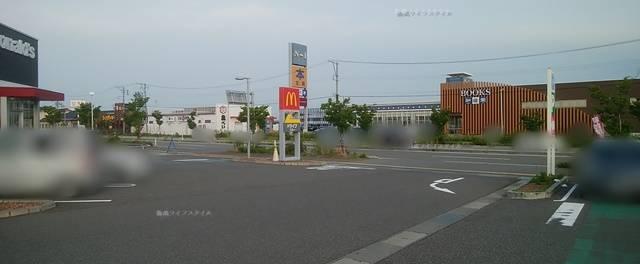 マクドナルド亀貝店とその向こうにある知遊堂などの店舗