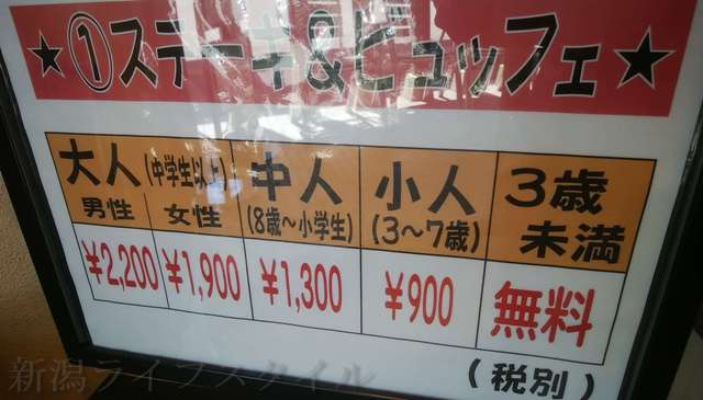 キラキラレストランのステーキ&ビュッフェの価格表