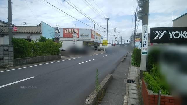 麺者風店小針店の前から青山イオン方面を望んだ風景