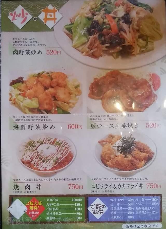 お肴やの炒め物と丼ものメニュー
