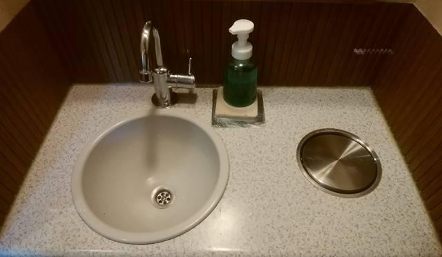 どれ味の手洗い場。ホーローの洗面台、陶器製の丸い流し、カーブした蛇口、緑色の液体せっけん。