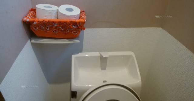 どれ味のトイレットペーパーのストック。トイレの上のカゴに2つトイレットペーパーが入っている