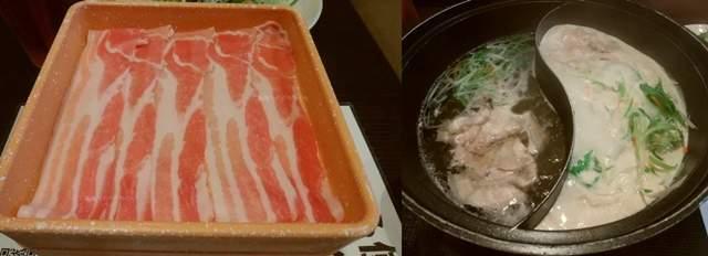 しゃぶ葉海老ケ瀬店のしゃぶしゃぶ肉とお鍋で肉や野菜を煮ている様子