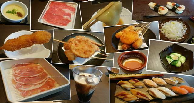 ゆず庵の豚しゃぶしゃぶコースのお肉やお寿司、串揚げにプリン、サイドメニューなど色んなもののコラージュ