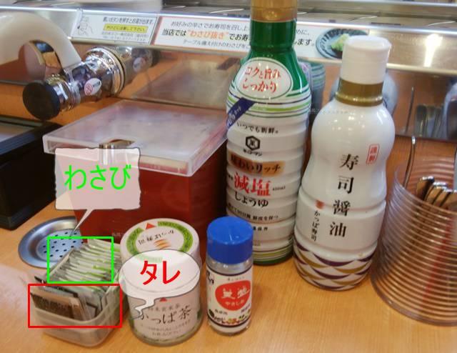かっぱ寿司逢谷内店の卓上調味料