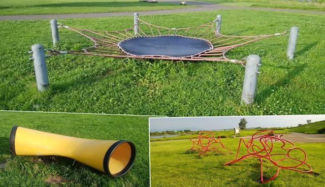 阿賀野川床固め公園の遊具の数々