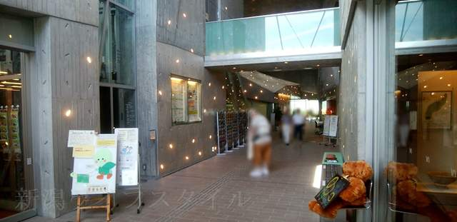 亀田図書館の建物入ってすぐの内観