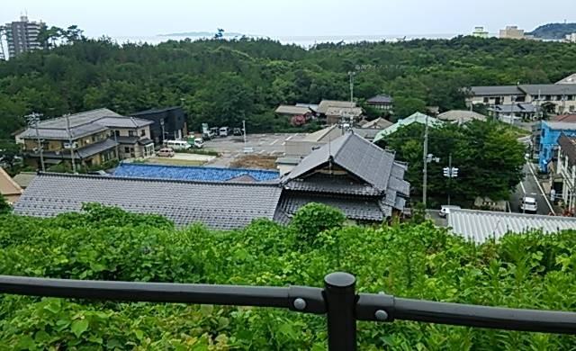 噴湯公園から見える瀬波温泉エリアの風景