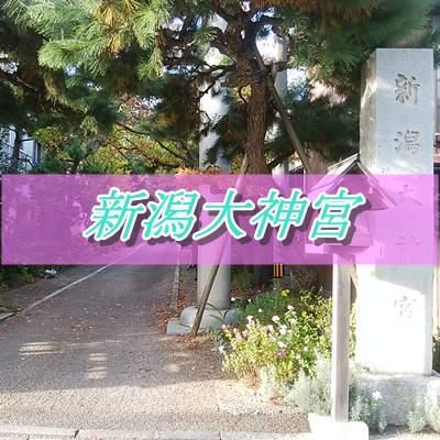 新潟大神宮の入口の灯篭と鳥居