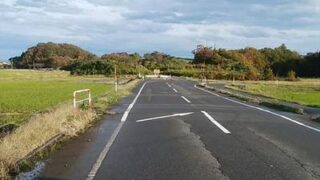 上堰潟公園近くの紅葉している道路